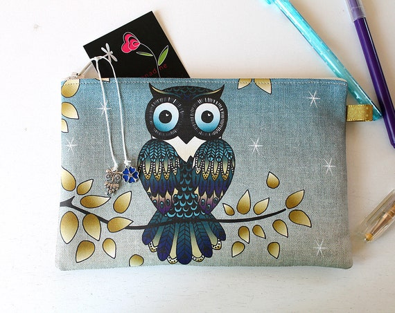 Pencil case in linen natural OWL pattern