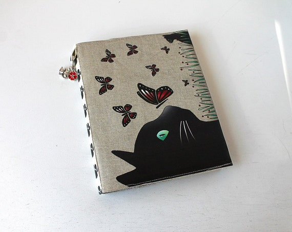 "Natural linen ""Cat and butterflies"" photo album"