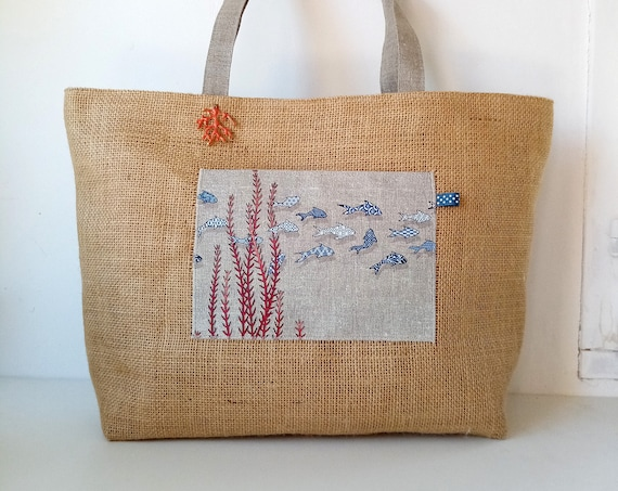 "Small jute and natural linen tote ""Petits poissons azulejos """