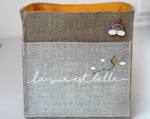 "Small basket square natural linen featuring ""life is beautiful"""