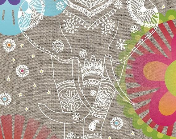 Elephant linen and cotton tea towel
