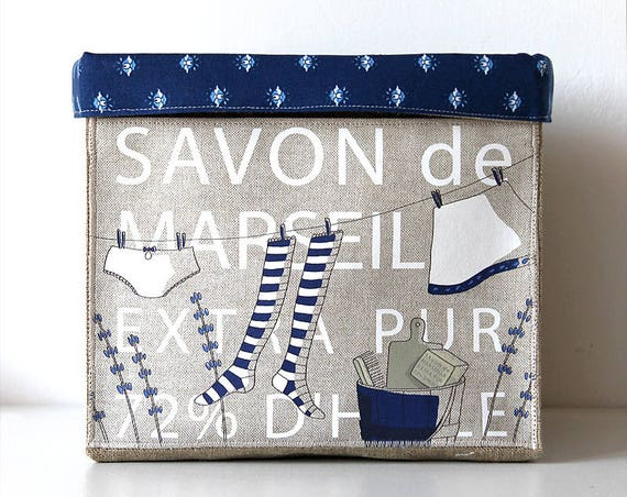 "Small basket square very soft / tidy linen natural lining of cotton and illustrated ""MARSEILLE SOAP"""