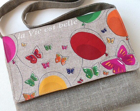 "Natural linen shoulder bag illustrated ""life is beautiful"""