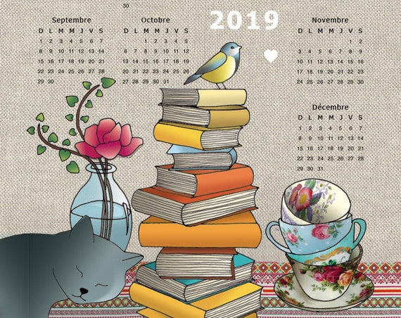 "Tea towel calendar 2019 ""Drink tea read books be happy"""