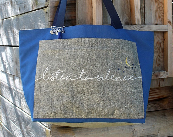 "Tote bag in linen and cotton ""Listen to silence"""