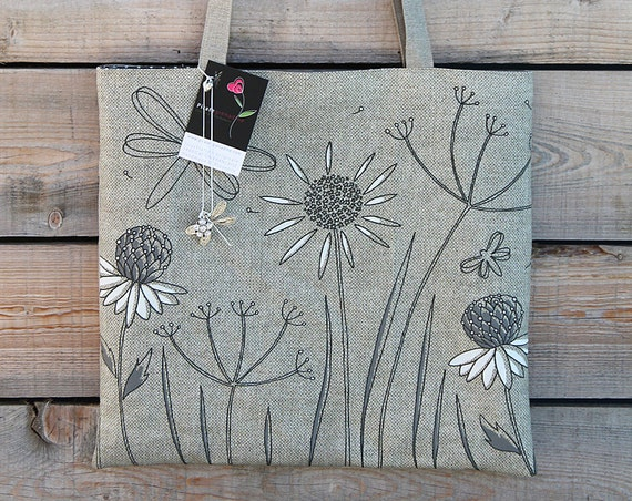 "Tote bag in natural linen illustrated ""dragonflies and herbs"""