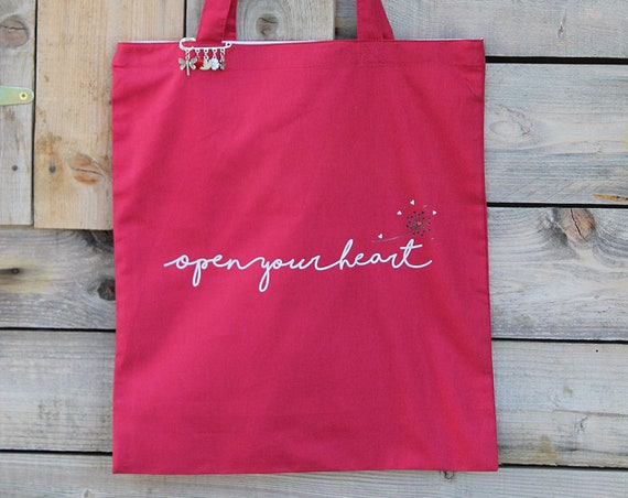 """""""Open your heart"""" printed cotton tote bag"""