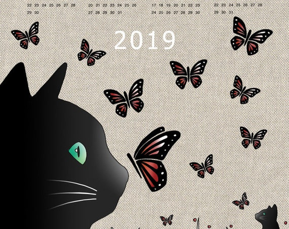 "Tea towel calendar 2019 ""cat & Butterfly"""