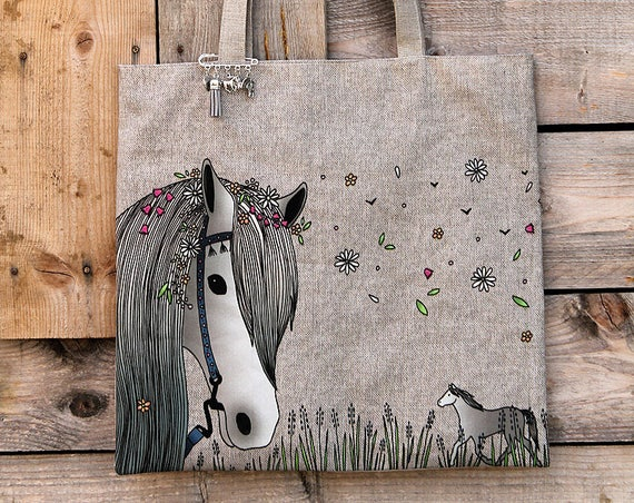 "Tote bag in natural linen lined and illustrated ""Bohemian horse"""