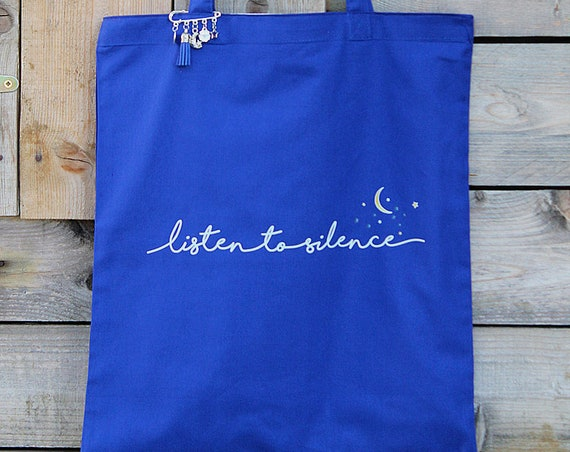 """""""Listen to silence"""" printed cotton tote bag"""