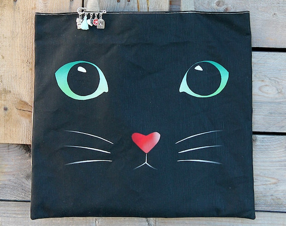 "Natural linen tote bag lined and illustrated ""In the eyes of my cat"""