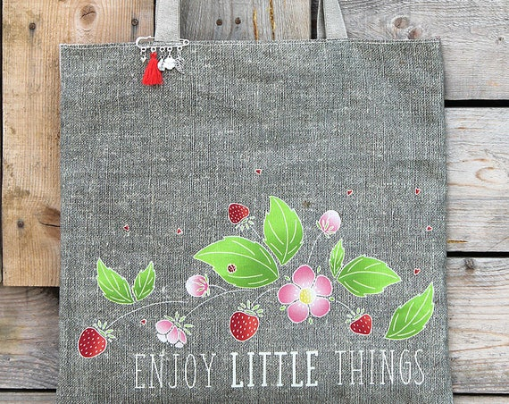 "Natural linen tote bag with lined and illustrated ""Enjoy little things"""
