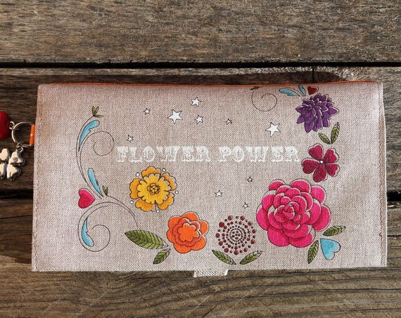 "Checkbook holder in natural linen "" Flower power """