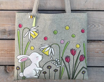 """Natural linen tote bag with lined and illustrated """"Little white rabbit"""""""