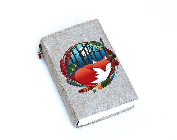 "Adjustable natural linen illustrated ""Fox totem pocketbook"