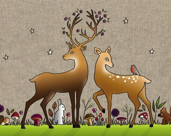 "Christmas Tea towel ""the enchanted forest"""