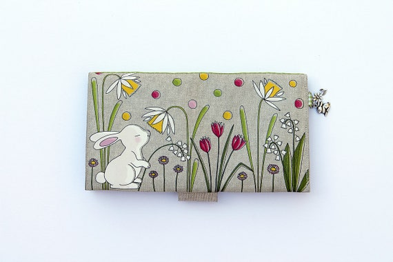 "Checkbook holder in natural linen "" small white rabbit """