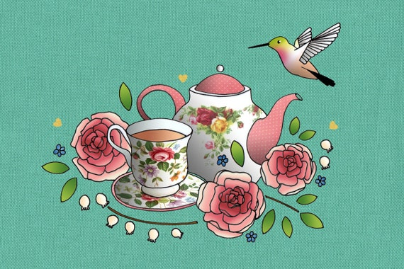 Tea towel linen and cotton pattern Hummingbird and old rose