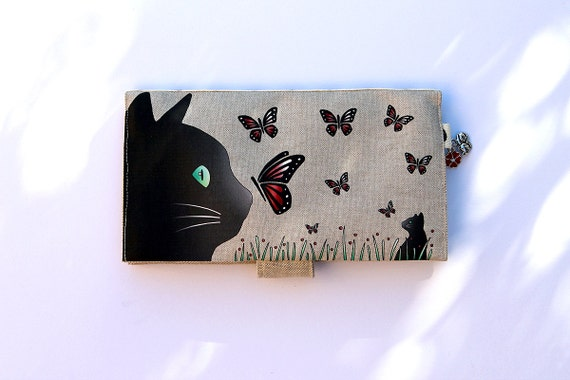 "Checkbook holder in natural linen "" Cat and butterflies """