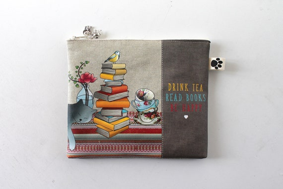 "Linen pouch ""Drink tea, read books, be happy"" for reader kindle oasis"