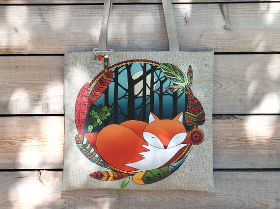 "Tote bag in natural linen illustrated ""Fox totem"""