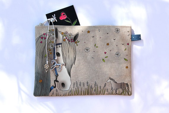 """Bohemian white horse"" illustrated natural linen pouch"