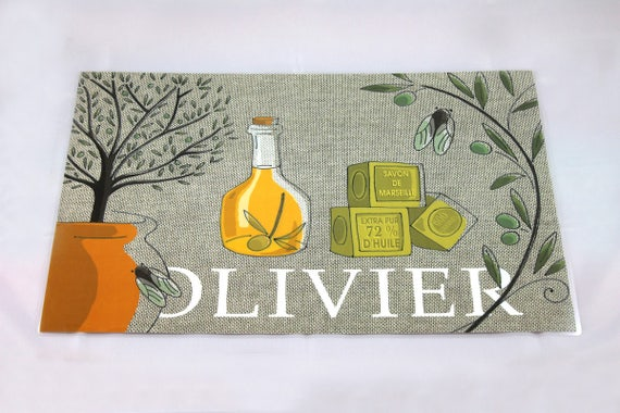 "Illustrated and laminated linen table set ""OLIVIER"""