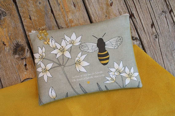 "Large linen pouch illustrated ""flower and bee"""