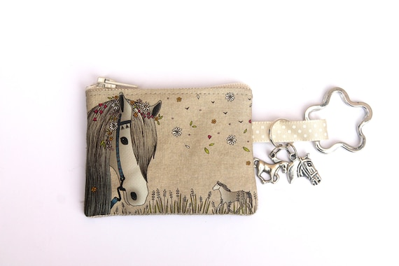 "linen key holder / mini wallet illustrated ""Cheval Bohème"""