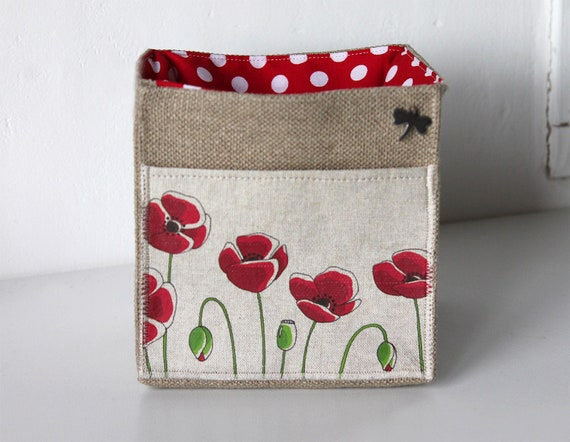 "Small basket square natural linen featuring ""I wanna poppies!"""