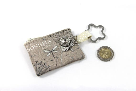 "Keychain - mini wallet in linen with message ""P ' little good luck happiness"""