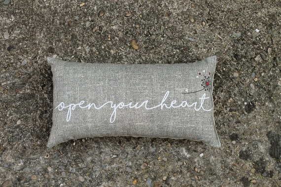 "Linen cushion for yoga and meditation ""Open your heart"""
