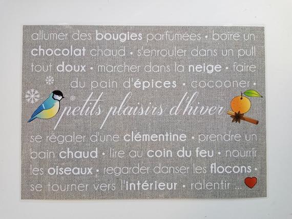 "Plastified placemat "" petits plaisirs d hiver """