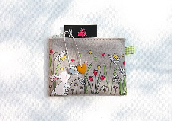 Wallet made of natural linen illustrated little white rabbit