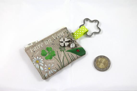"Keychain - mini linen purse with message ""Make a wish"""