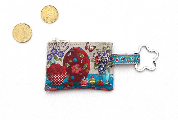"Keyring / mini wallet illustrated linen ""cherry & purple"""