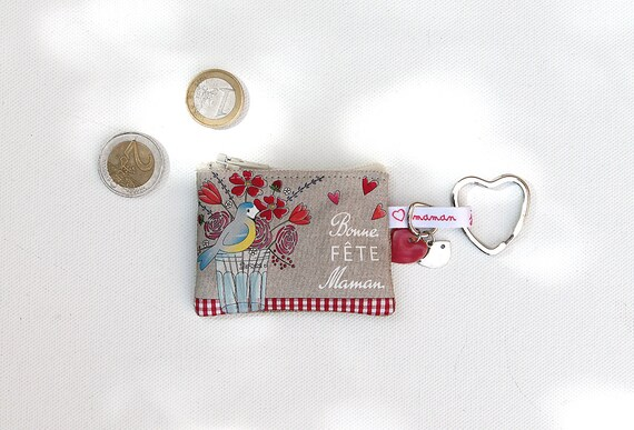 "Keychain/mini wallet in illustrated linen ""happy mother's day"""