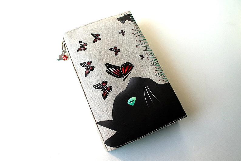 Adjustable pocketbook illustrated linen cat and image 0