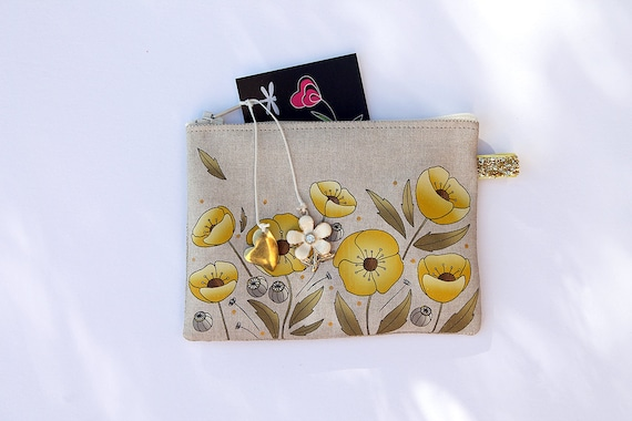"Illustrated natural linen ""poppies"" yellow and gold wallet"