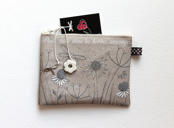 "Wallet shown natural linen ""barefoot in the weeds"""