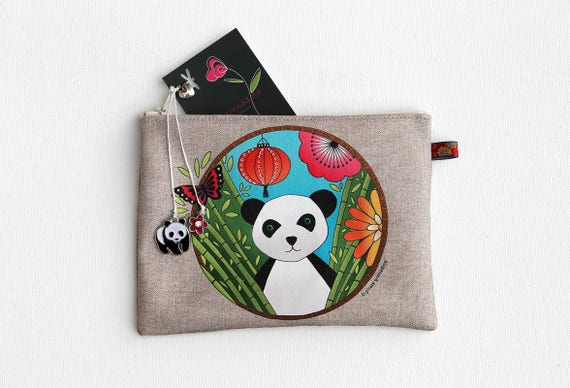 "Multifunctional illustrated ""Panda totem"" natural linen pouch"