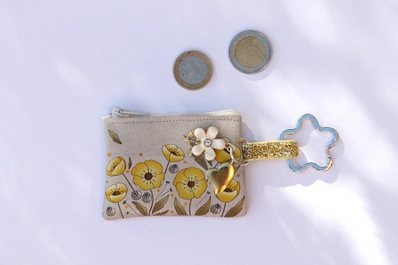 "Keyring / mini wallet in lin illustrated ""gold and yellow poppies"""