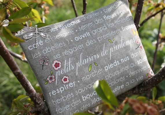 "Illustrated natural linen clutch ""little spring pleasures"""