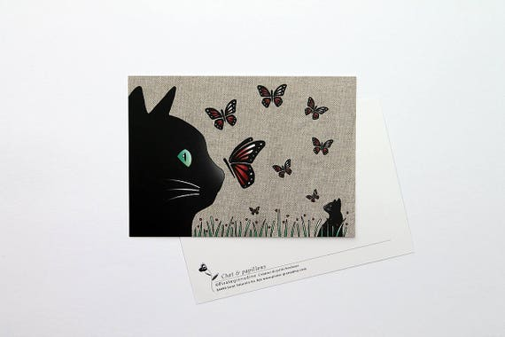 "Postcard ""Cat and butterflies"""