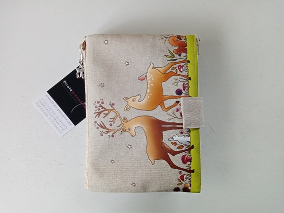 "Natural linen bag / multipocket organizer shown ""the enchanted forest"""