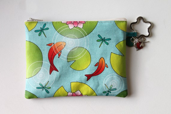 "Coin purse-key cards in natural linen with illustration ""Lily & red fish"""