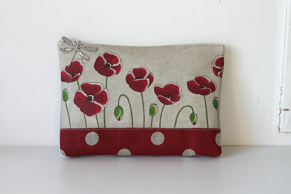 "Large natural linen pouch illustrated ""I want poppies"""