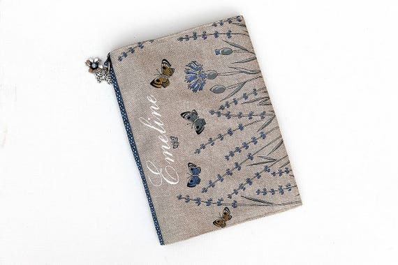 "Protects health record in flax customizable illustrated ""lavender and butterflies"""
