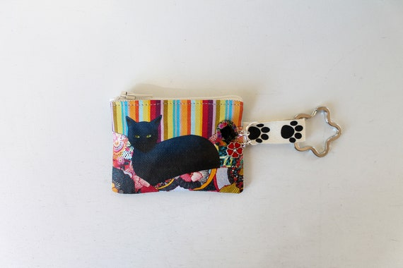 Key door - mini linen coin door illustrated multicolored black cat