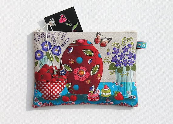 "Illustrated natural linen ""cherry & purple"" pouch"